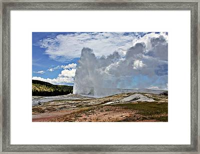 Old Faithful Geyser Eruption Yellowstone National Park Wy Framed Print by Christine Till