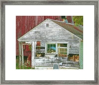Old Farm Shed Framed Print by Elaine Frink
