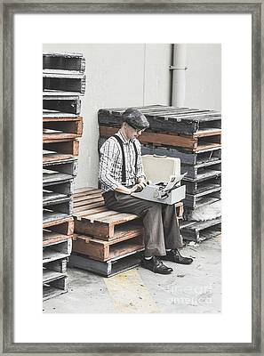 Old Fashioned Male Journalist Writing News Report Framed Print by Jorgo Photography - Wall Art Gallery