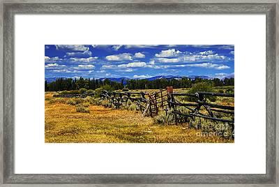 Old Fence Line Framed Print by Robert Bales