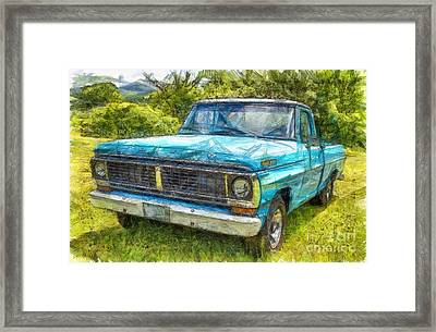 Old Ford Pick Up Truck Pencil Framed Print by Edward Fielding