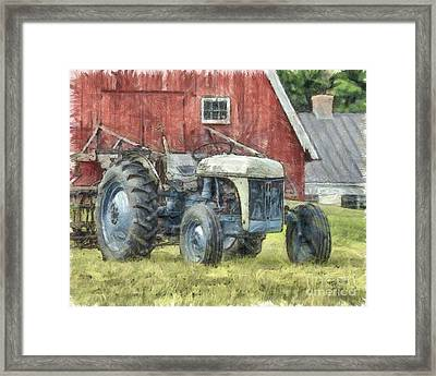 Old Ford Tractor Colored Pencil Framed Print by Edward Fielding