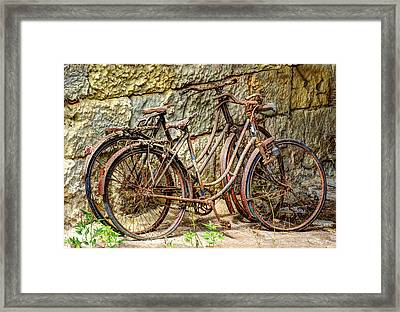 Old French Bicycles Framed Print by Debra and Dave Vanderlaan