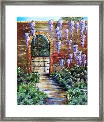 Old Garden Gateway Framed Print by Riley Geddings