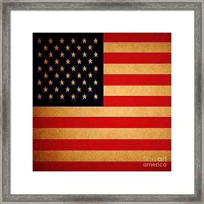 Old Glory . Square Framed Print by Wingsdomain Art and Photography