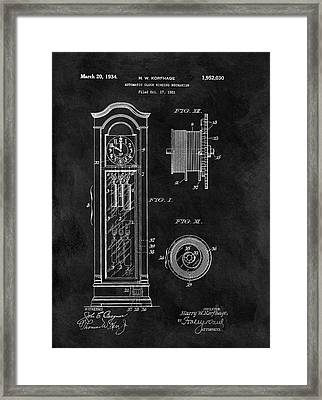 Old Grandfather Clock Patent Framed Print by Dan Sproul