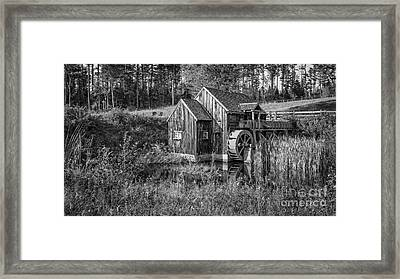 Old Grist Mill In Vermont Black And White Framed Print by Edward Fielding