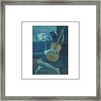 Old Guitarist Framed Print by Pablo Picasso