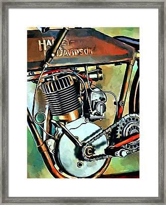 Old Harley Davidson  Framed Print by Scott Wallace