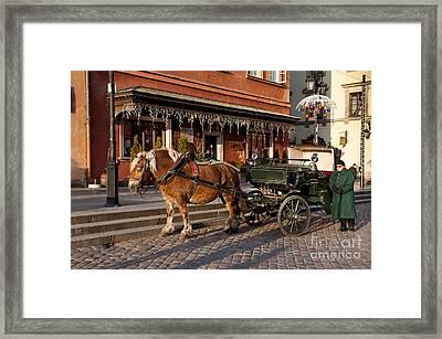 Old Horse And Green Britzka Framed Print by Arletta Cwalina