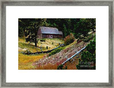 Old Horse Barn In The Draw Framed Print by Terril Heilman