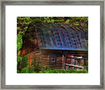 Old Horse Barn In The Pines Framed Print by Terril Heilman