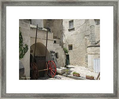 Old Horsecart In Matera Framed Print by Italian Art