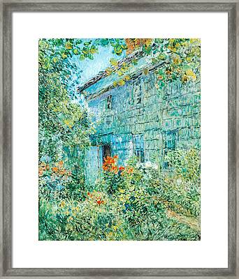 Old House And Garden East Hamptons Framed Print by Childe Hassam