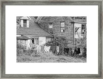 Old House With Laundry Black And White Photograph Framed Print by Keith Webber Jr
