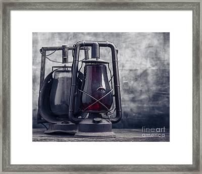 Old Hurricane Lanterns Still Life Framed Print by Edward Fielding