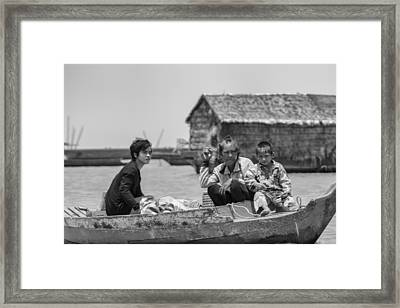 Old Lady And Children On The Lake  Framed Print by Georgia Fowler