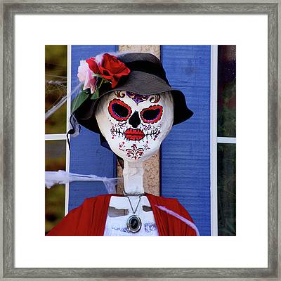 Old Lady Sugar Skull Framed Print by Art Block Collections