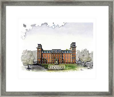 Old Main Of University Of Arkansas Diploma Size Framed Print by Yang Luo-Branch