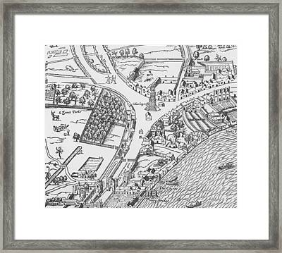 Old Map Of Charing Cross Framed Print by Ralph Agas