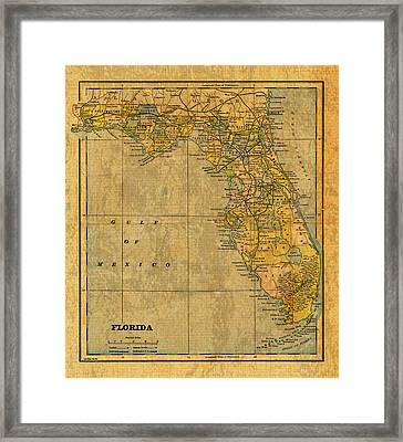 Old Map Of Florida Vintage Circa 1893 On Worn Distressed Parchment Framed Print by Design Turnpike