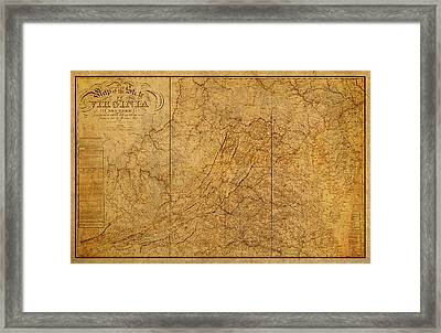 Old Map Of Virginia State Schematic Circa 1859 On Worn Distressed Parchment Framed Print by Design Turnpike