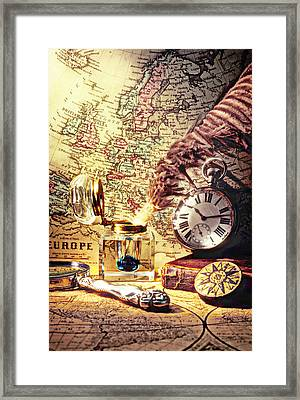 Old Maps And Ink Well Framed Print by Garry Gay