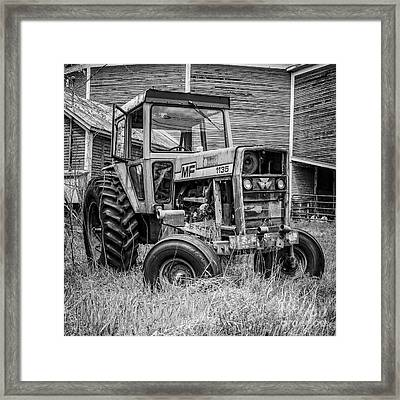 Old Mf Tractor Square Framed Print by Edward Fielding