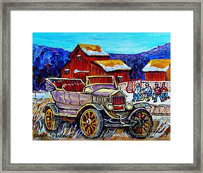 Old Model T Car Red Barns Canadian Winter Landscapes Outdoor Hockey Rink Paintings Carole Spandau Framed Print by Carole Spandau