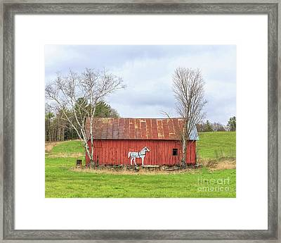 Old New England Red Horse Barn Framed Print by Edward Fielding