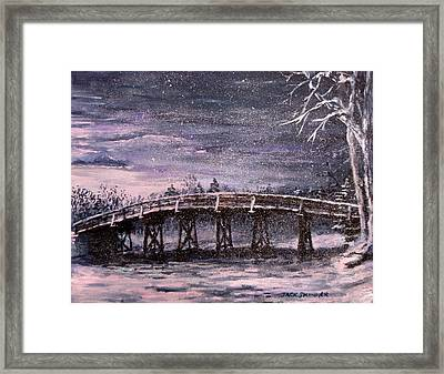 Old North Bridge In Winter Framed Print by Jack Skinner
