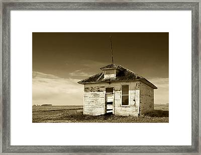 Old One Room Country School Building Framed Print by Donald  Erickson