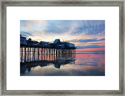 Old Orchard Beach Sunrise - Maine Framed Print by Joann Vitali