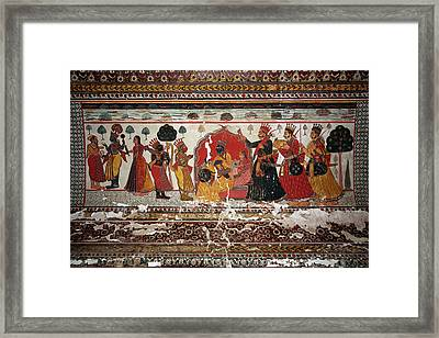 Old Painting In Raj Mahal Palace, Orchha Fort Framed Print by Aivar Mikko