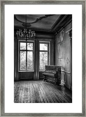 Lost Glory Music - Abandoned Building Bw Framed Print by Dirk Ercken