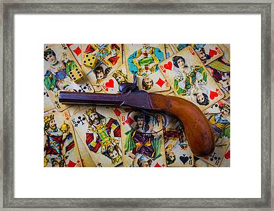 Old Pistol And Cards Framed Print by Garry Gay