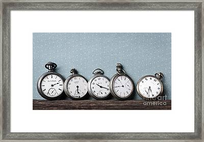 Old Pocket Watches On A Shelf Framed Print by Edward Fielding