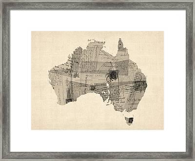 Old Postcard Map Of Australia Map Framed Print by Michael Tompsett