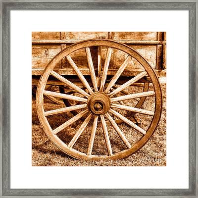 Old Prairie Schooner Wheel - Sepia Framed Print by Olivier Le Queinec