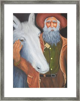 Old Prospector And Friend Framed Print by Joni McPherson