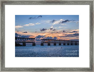 Old Rail Bridge At Florida Keys Framed Print by Elena Elisseeva