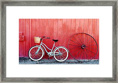 Old Red Barn And Bicycle Framed Print by Margaret Hood