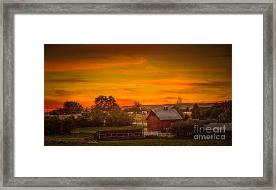 Old Red Barn Framed Print by Robert Bales