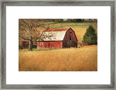 Old Red Barn Framed Print by Tamyra Ayles
