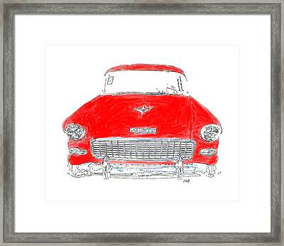 Old Red Car Drawing T-shirt Framed Print by Edward Fielding