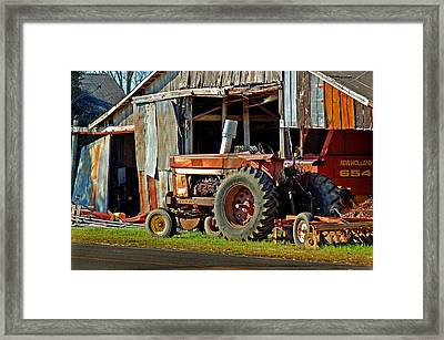 Old Red Tractor And The Barn Framed Print by Michael Thomas