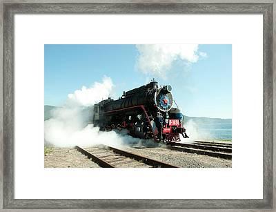 Old Russian Train On Bajkal Framed Print by Tamara Sushko