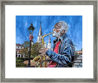 Old Sax Player In Jackson Square Framed Print by John Boles