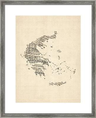 Old Sheet Music Map Of Greece Map Framed Print by Michael Tompsett