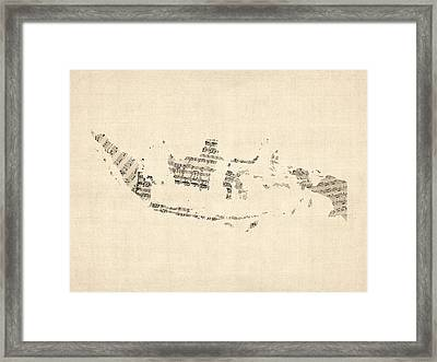 Old Sheet Music Map Of Indonesia Map Framed Print by Michael Tompsett
